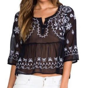 Free People Pennies Sequel Navy White Embroidered Blouse
